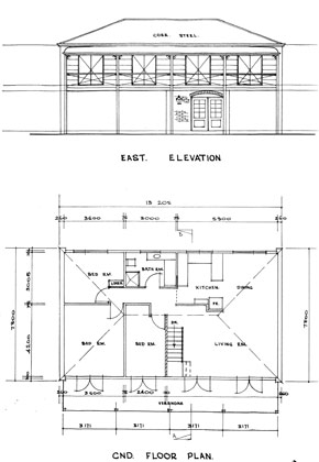 Ground floor plan and east elevation of house Timber Toolbox  Sketches drawings Reading Two